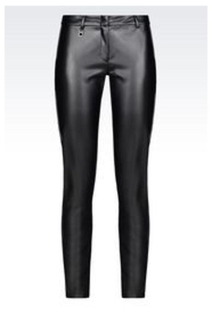 OFFICIAL STORE ARMANI JEANS SKINNY FIT LEATHER EFFECT TROUSERS