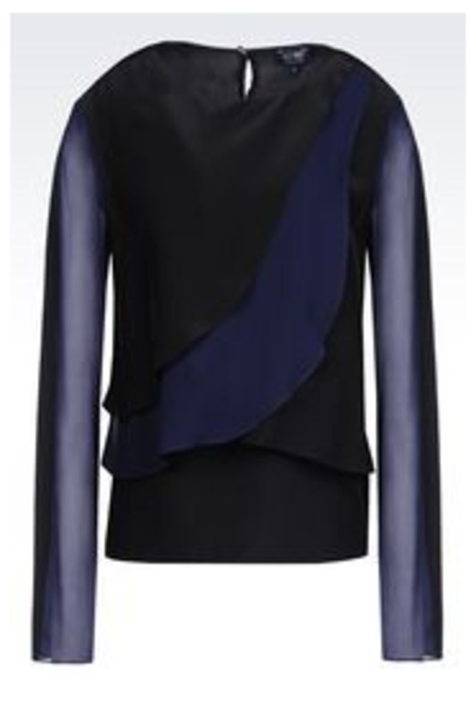 OFFICIAL STORE ARMANI JEANS BLOUSE IN VISCOSE AND SILK