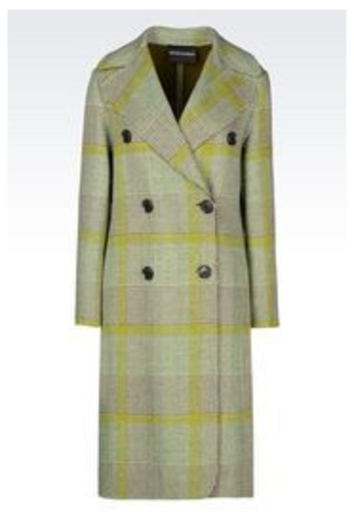 OFFICIAL STORE EMPORIO ARMANI DOUBLE-BREASTED COAT IN PRINCE OF WALES