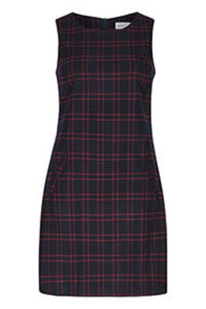 Navy & Red Check Print Shift Dress