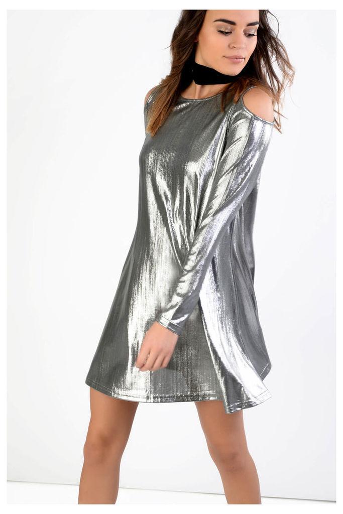Silver Cold Shoulder Skater Dress