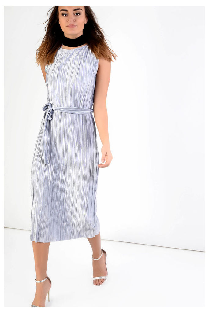 Silver Plisse Belted Midi Dress