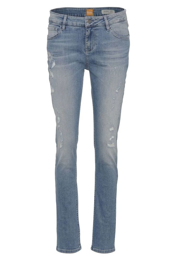Slim-fit jeans in stretch cotton blend in used look: `Orange J70`