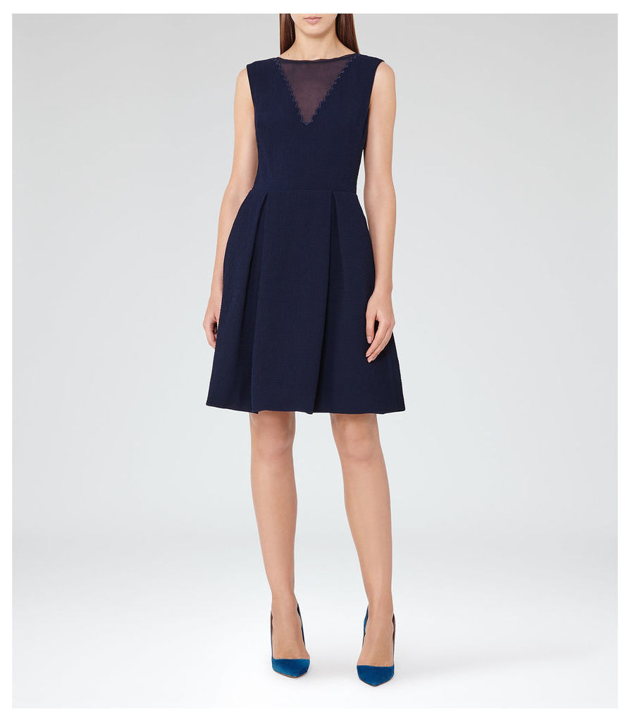 REISS Marlowe - Womens Sheer-panel Fit And Flare Dress in Blue