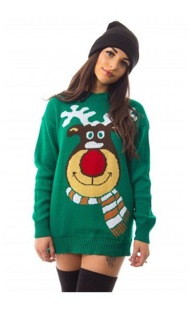 Rudolf Green Christmas Jumper