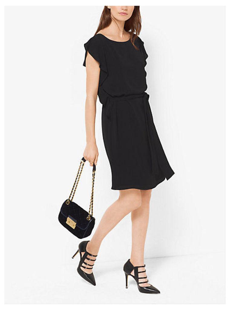 Flutter-Sleeved Crepe Dress