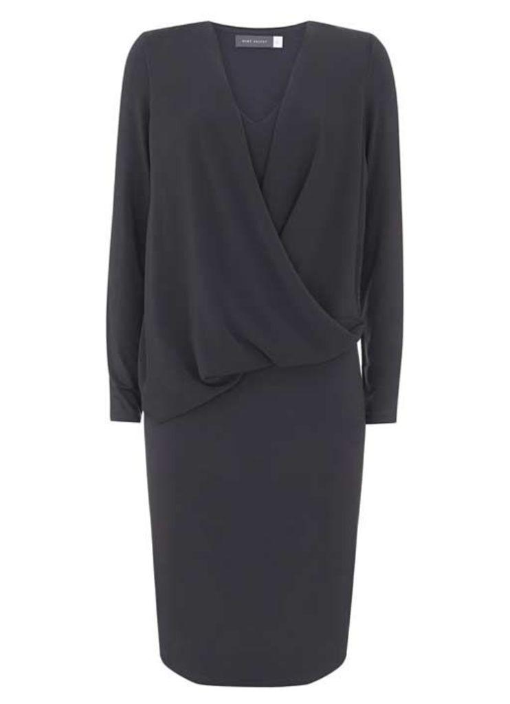 Carbon Wrap Front Jersey Dress