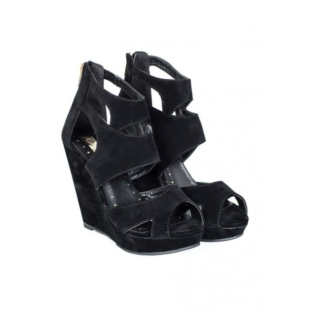 STRAPPY BACK ZIP HIGH WEDGE