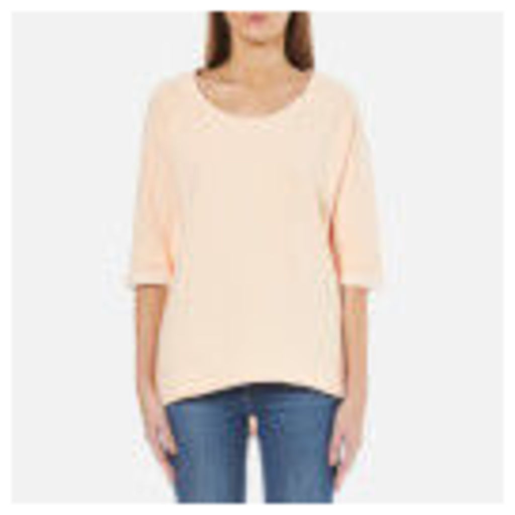 Maison Scotch Women's Home Alone Loose Fitted Short Sleeve Sweatshirt - Rose White
