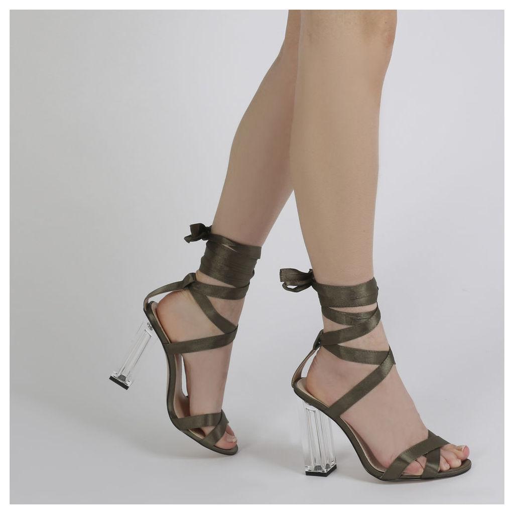 Ariel Perspex High Heels in Khaki Satin