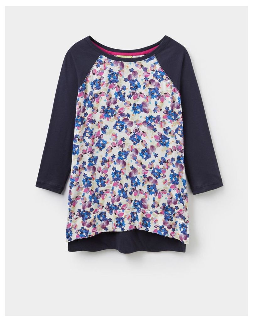Navy floral 124006 Womens POLLY top  Size 8   Joules UK