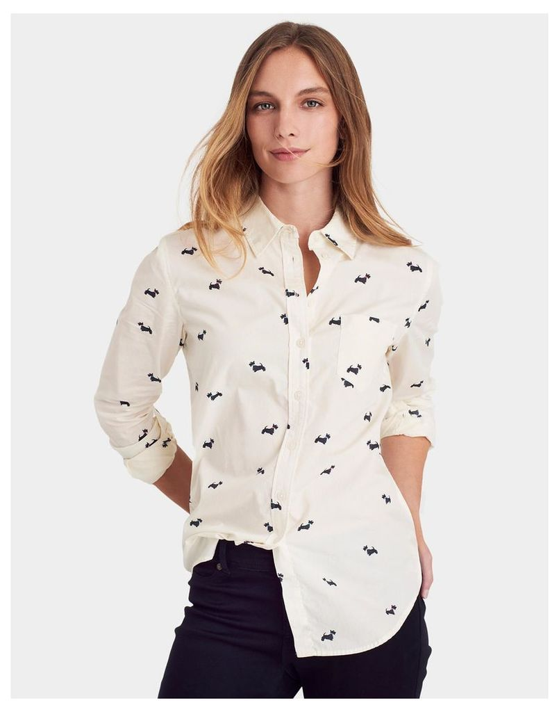 Cream Scotty Dog Lucie Classic Fit Printed Shirt  Size 14   Joules UK