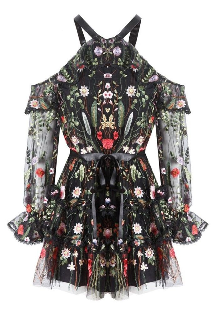 Adeline Dress Black Garden