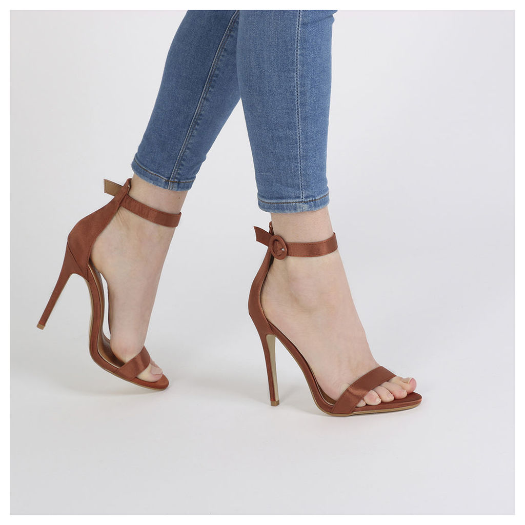 Crystal Self Buckled Barely There Heels in Rust Satin, Brown