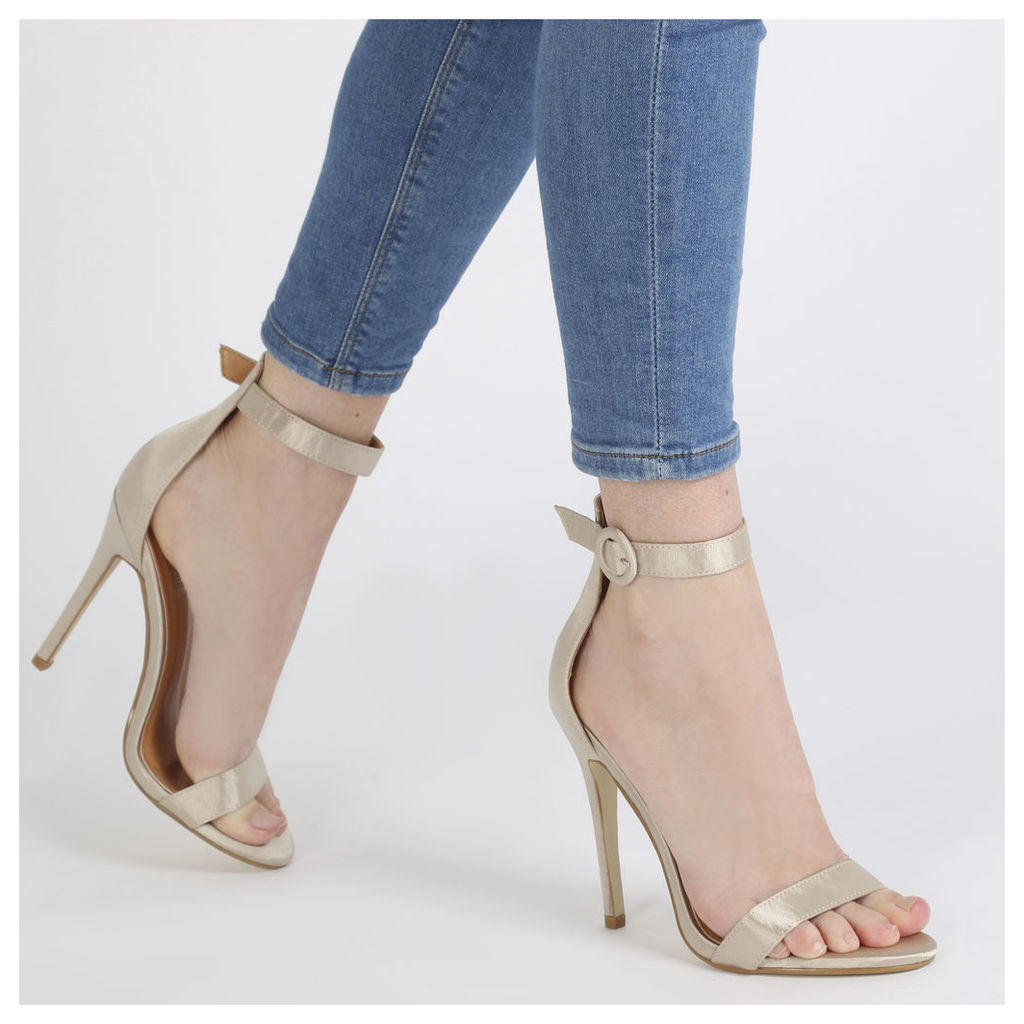 Crystal Self Buckled Barely There Heels in Champagne Satin, Red