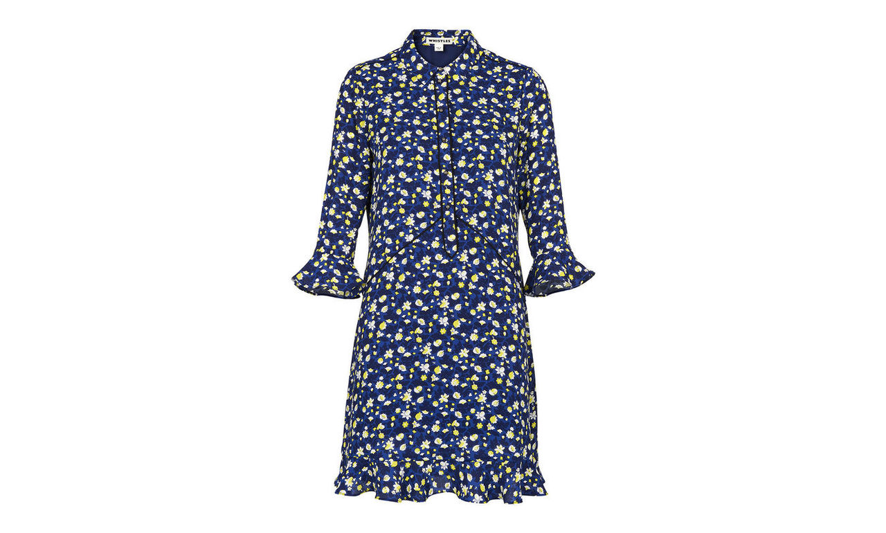 Bell Flower Print Shirt Dress
