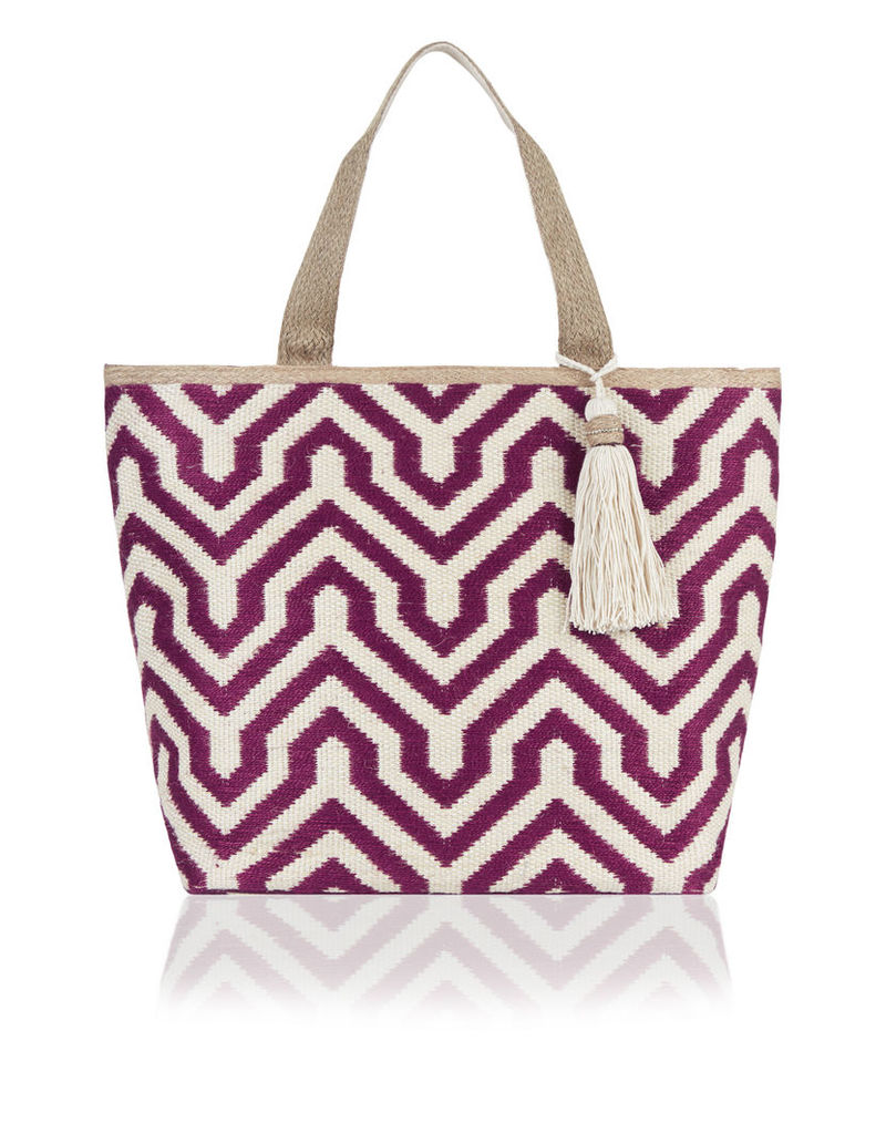 Geo Woven Packable Tote Bag