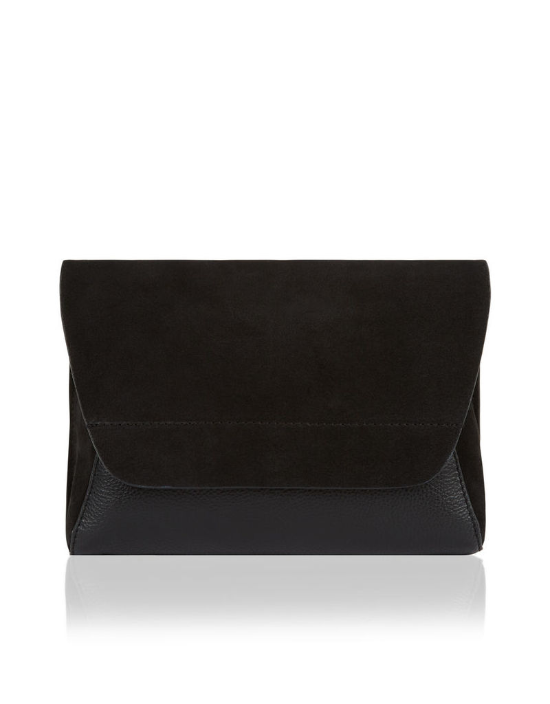 Grace Suede Contrast Leather Clutch Bag