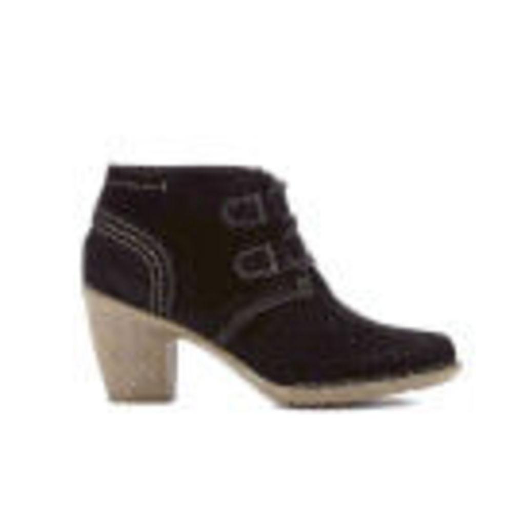 Clarks Women's Carleta Lyon Suede Heeled Ankle Boots - Black - UK 6