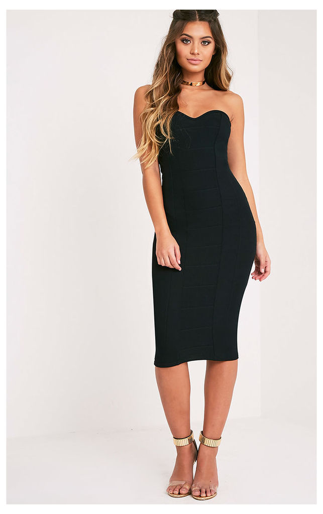 Kayalla Black Bandage Bandeau Midi Dress, Black
