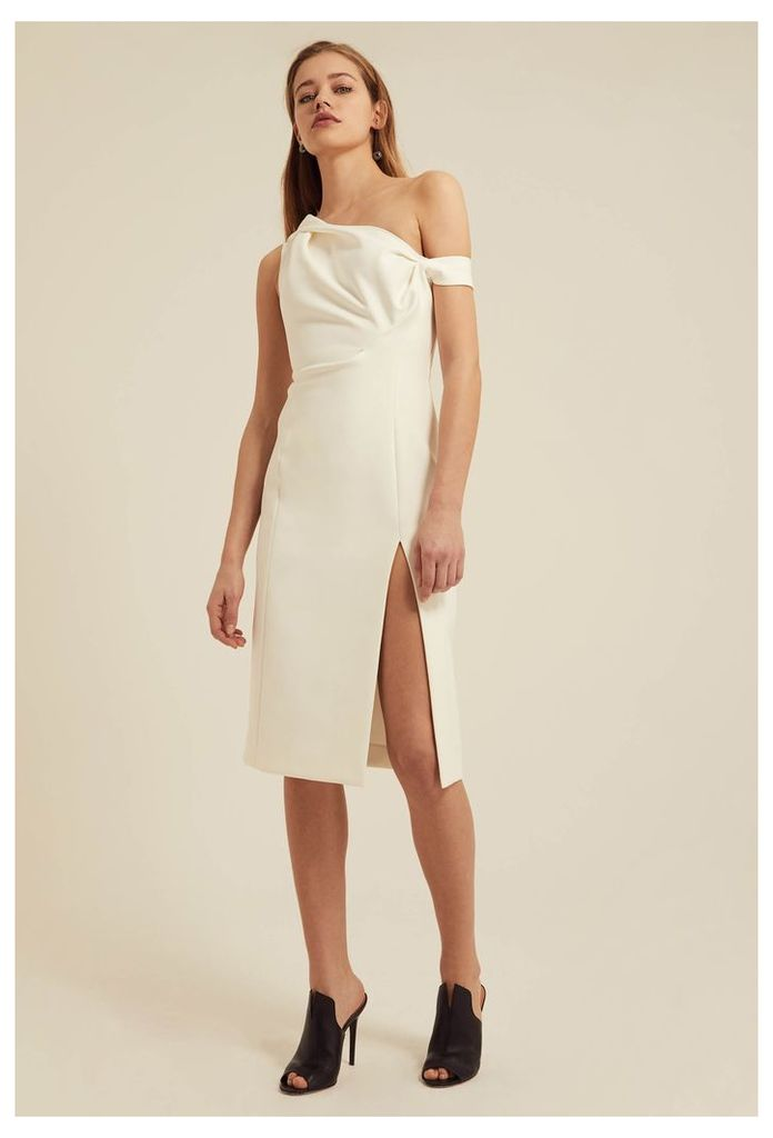 Didion Structured Knee Length Dress - Cream White