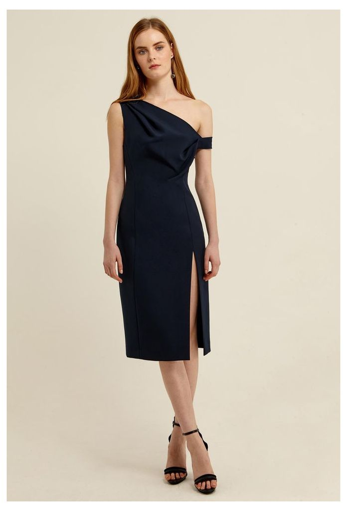 Didion Structured Knee Length Dress - Deep Marine