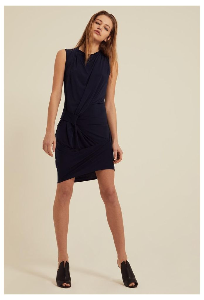 Gratiae Draped Jersey Mini Dress - Deep Marine