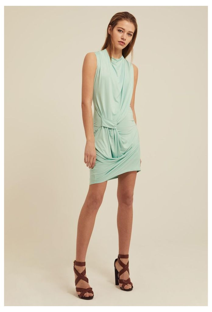 Gratiae Draped Jersey Mini Dress - Chalky Mint