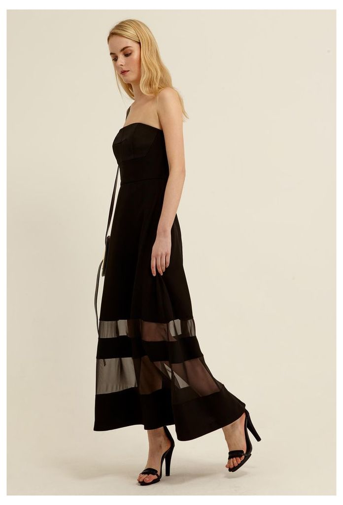 Zaine Strapless Midi Dress - Black