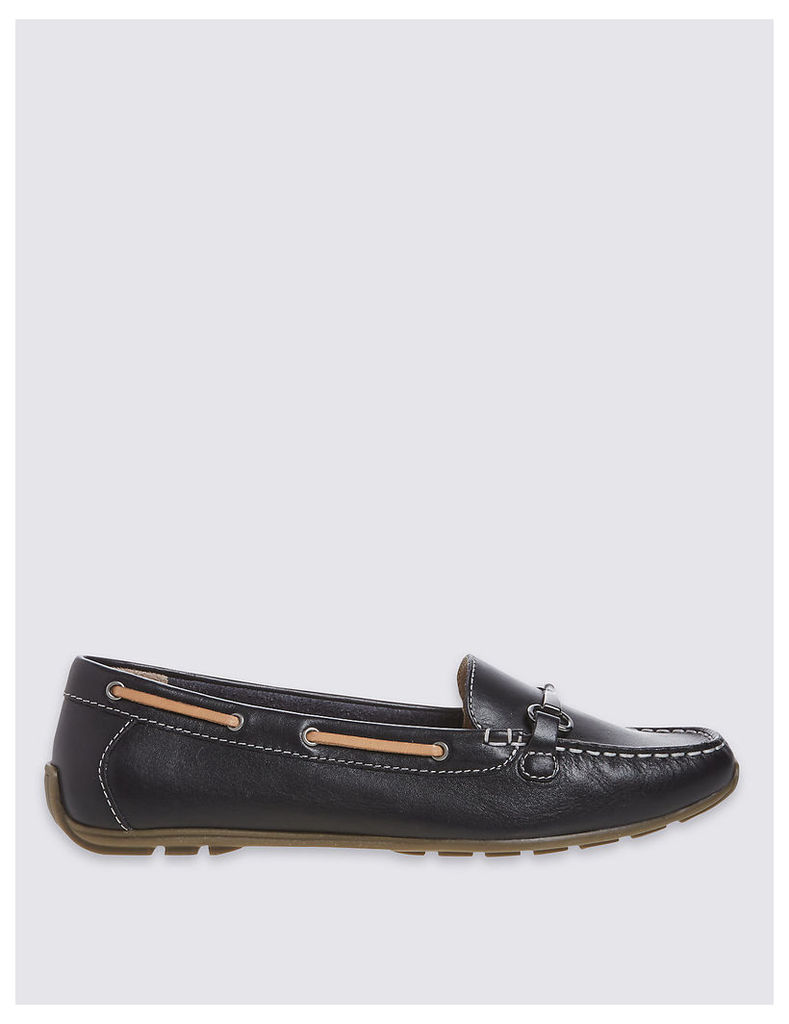 Footglove Wide Fit Leather Square Toe Loafers