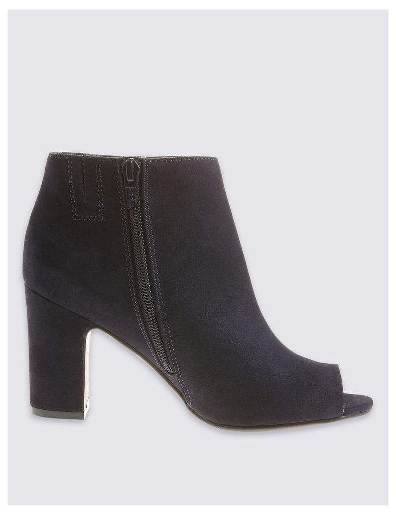 M&S Collection Block Heel Side Zip Peep Toe Ankle Boots