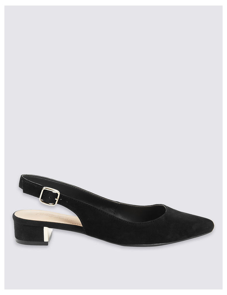 Footglove Wide Fit Suede Court Shoes with Stain Away