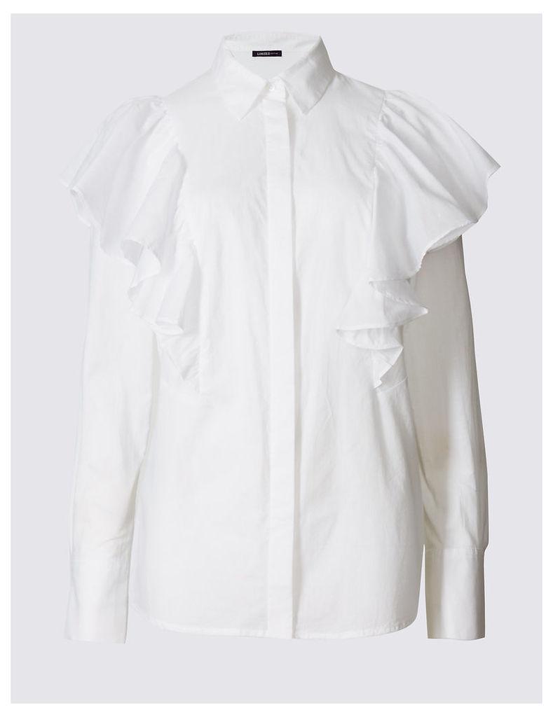 Limited Edition Pure Cotton Poplin Ruffle Shirt