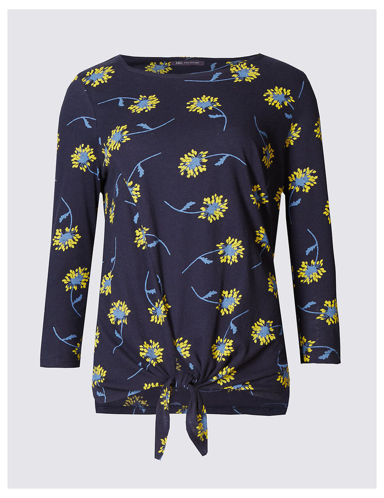 M&S Collection Pure Cotton Floral Print Jersey Top