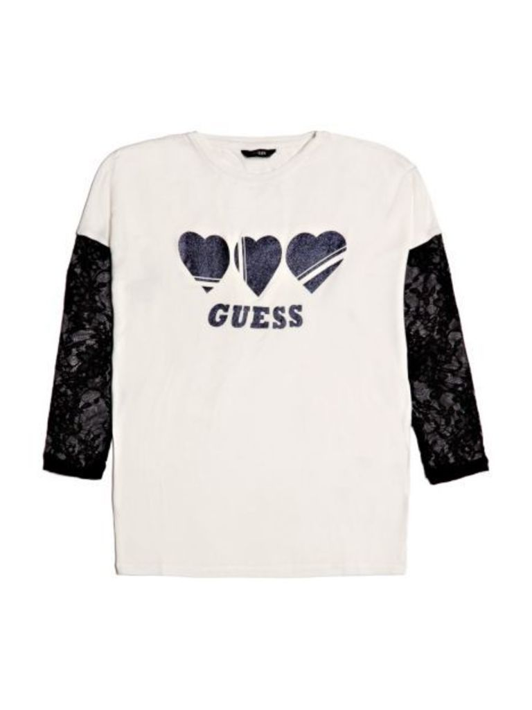 Guess Kids Viscose T-Shirt With Lace Sleeves