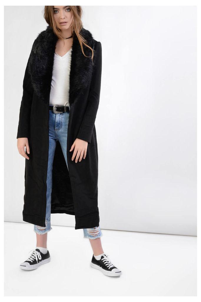 Black Maxi Coat with Faux Fur Collar