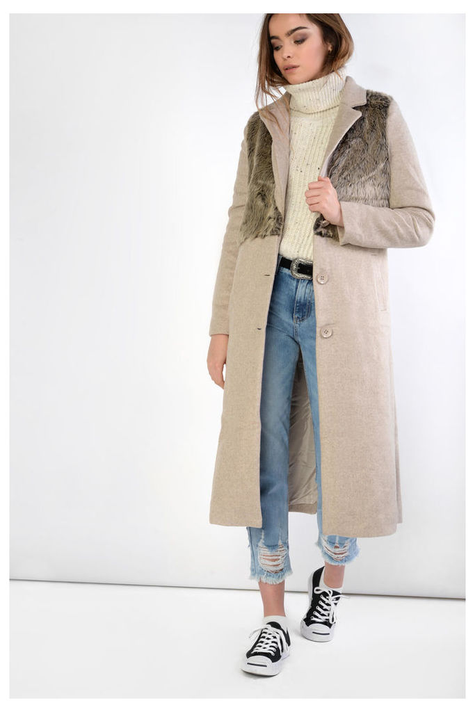 Faux Fur Detail Overcoat