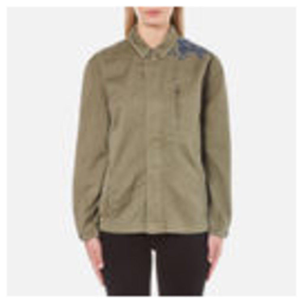 Maison Scotch Women's Army Jacket with Embroidery - Military Green