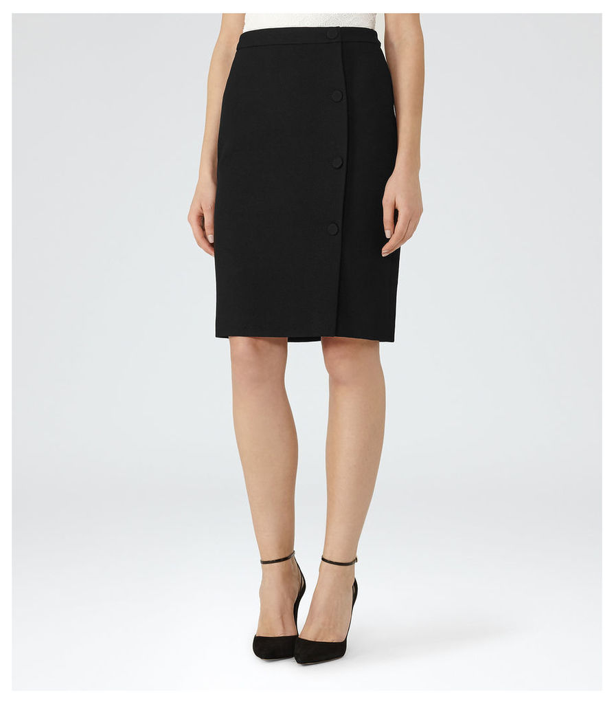 REISS Ricky - Womens Button-front Pencil Skirt in Black