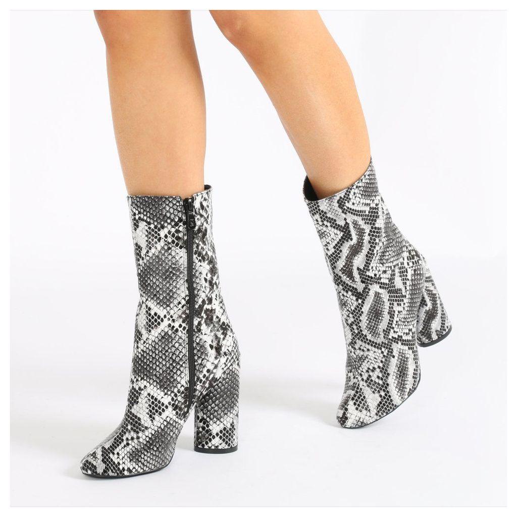 Elsa Sock Fit Round Heel Ankle Boots in Faux Snakeskin, Black