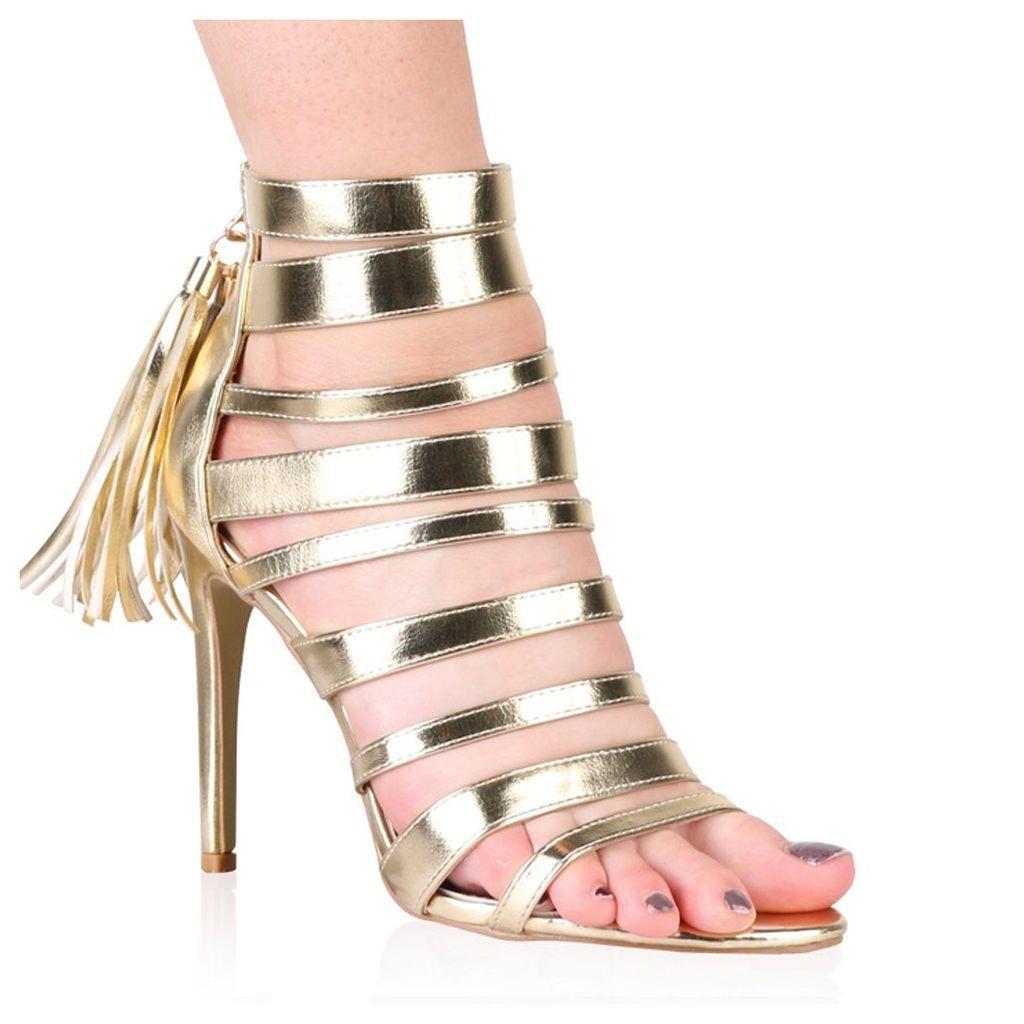 Taryn Stiletto Heels in Gold, Gold
