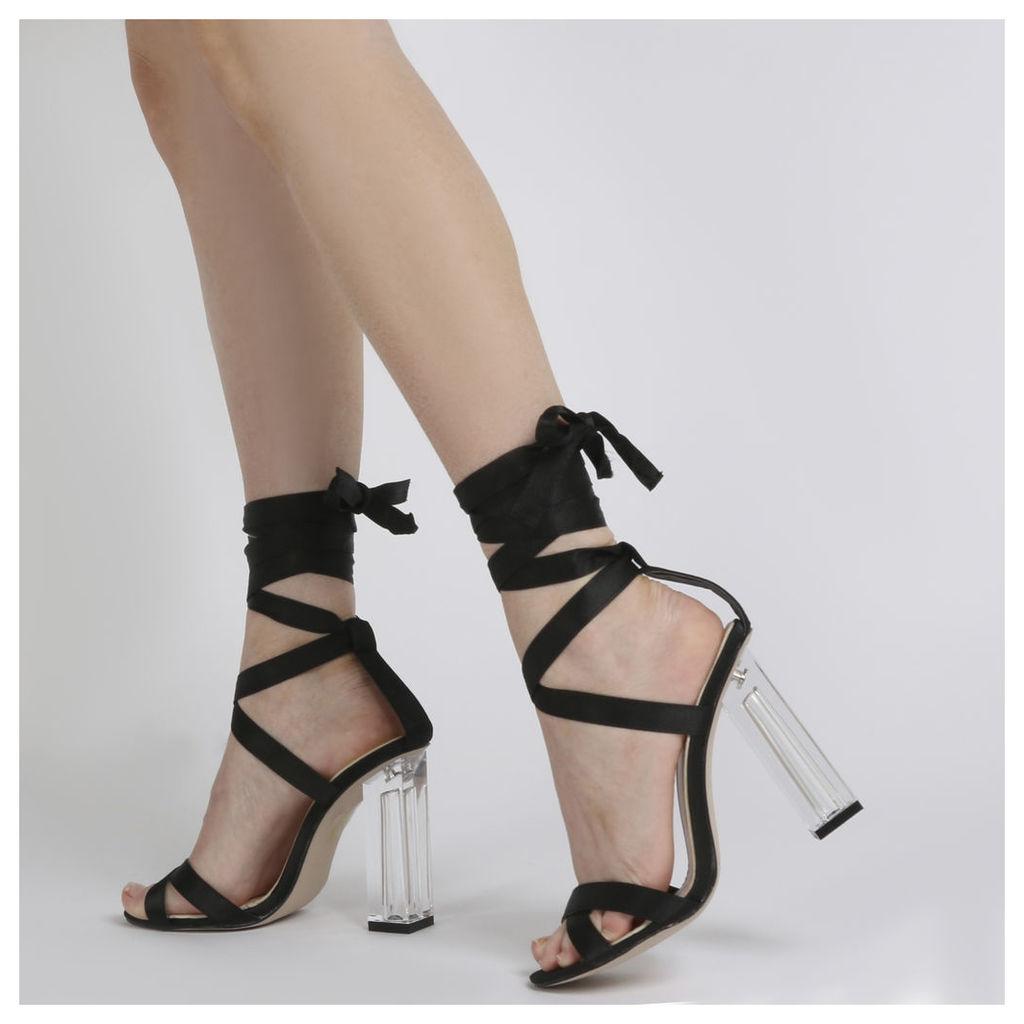 Ariel Perspex High Heels in Black Satin, Black