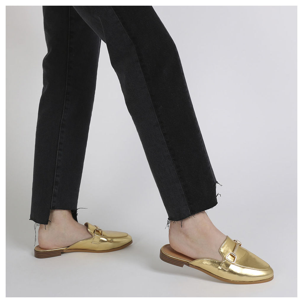 Louisa Backless Loafers in Gold Metallic, Gold