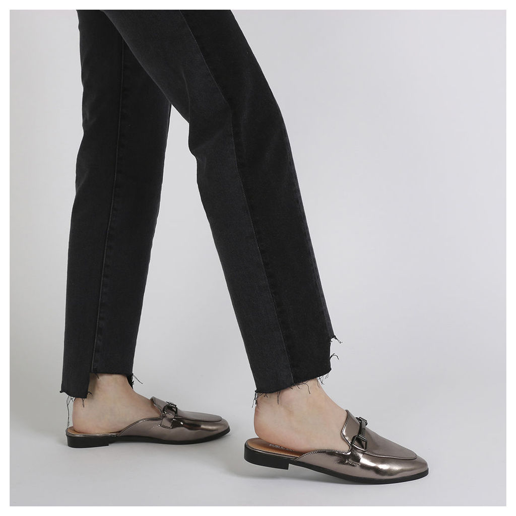 Louisa Backless Loafers in Pewter Metallic, Grey
