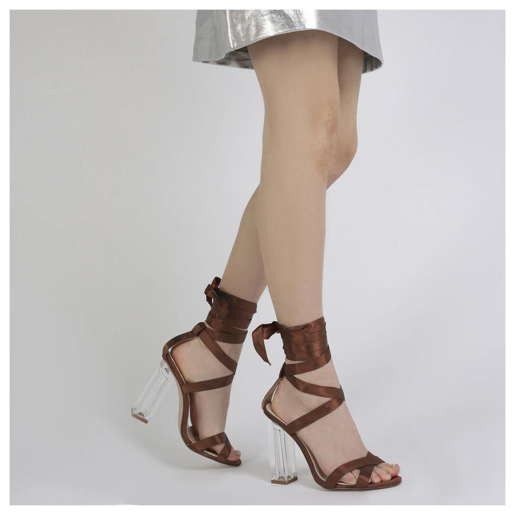 Ariel Perspex High Heels in Rust Satin, Red