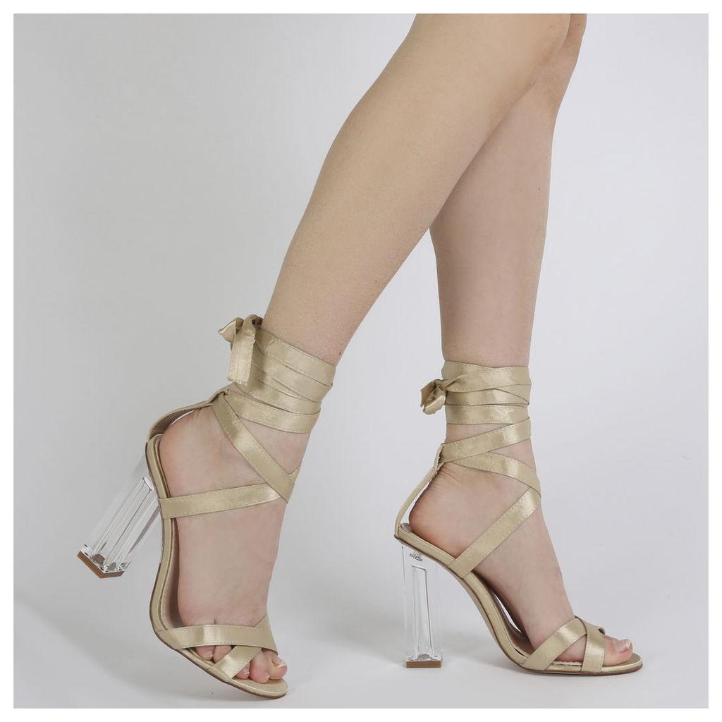 Ariel Perspex High Heels in Champagne Satin, Pink