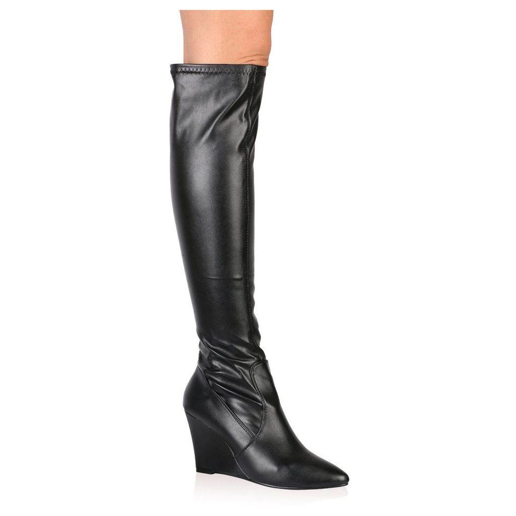 Katia Long Boots in Black, Black