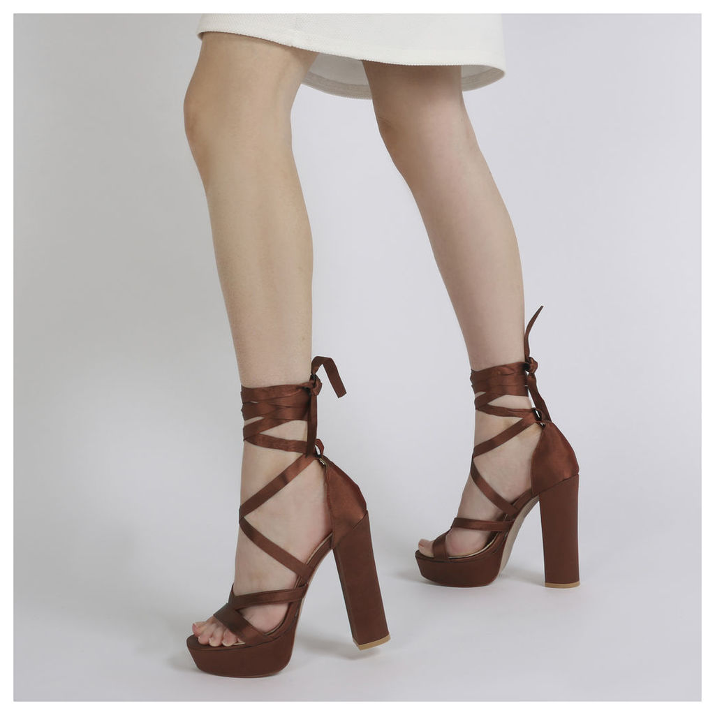 Stella Lace Up Heels in Rust Satin, Red