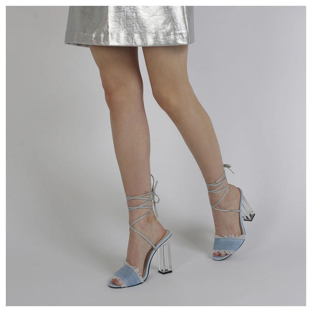 Scarlette Perspex Heel Denim Heels in Light Blue, Blue