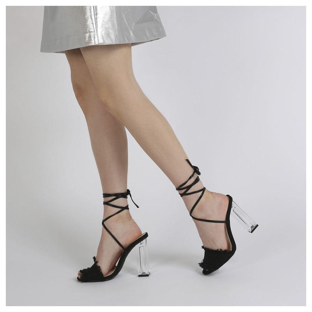 Scarlette Perspex Heel Denim Heels in Black, Black